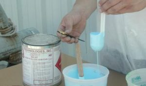 Prepare gelcoat by checking viscosity with a viscosity measuring cup